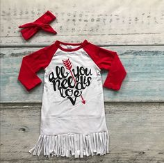 baby girls cotton Valentine's day boutique dress girls all u need is love dress heart dress with headband