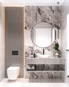 Apartment in Baku_A on Behance Minimalist Bathroom Design, Bathroom Design Luxury, Modern Bathroom Design, Modern Interior Design, Minimalist Small Bathrooms, Powder Room Design, Toilet Design, Dream Bathrooms, Home Decor Bedroom