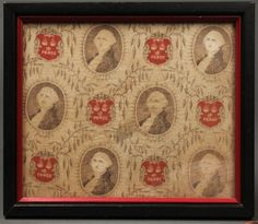 Framed piece of silk handkerchief or bandanna with vignettes of George Washington and red cartouche reserves reading . Cherry Bounce, Vintage Bandana, Silk Handkerchief, George Washington, Vignettes, Vintage World Maps, Auction, Antiques, Country Style