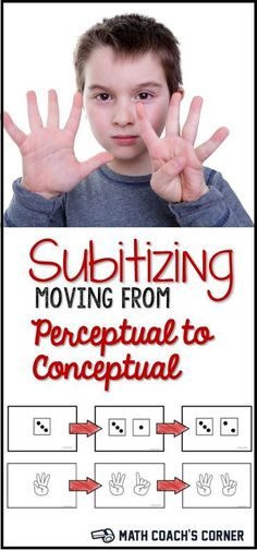 Subitizing involves instantly recognizing a small quantity of objects. Read how to move your students beyond simple (perceptual) subitizing and help them develop the ability to instantly compose subgroups into a whole (conceptual). Preschool Math, Math Classroom, Kindergarten Math, Fun Math, Teaching Math, Guided Maths, Math Resources, Math Activities, Math Games