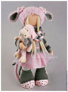 """Купить """"САМА, такая ))) """" - бледно-розовый, серо-розовый, текстильная кукла, тильда"""