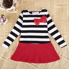 2015 New Spring and Summer Children Stripe Long Sleeve Dress Baby Girls Bow Dresses Kids Striped Bow Princess Casual Dress