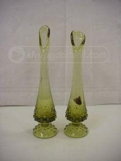 Pair of Fenton Glass Green Handmade Vases