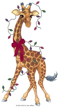 Giraffe Pictures/saved from Chris Mopens//copyright:Catherine Jean DeMello 2004 Giraffe Art, Cute Giraffe, Animals And Pets, Baby Animals, Cute Animals, Baby Elephants, Christmas Animals, Christmas Art, Christmas Lights