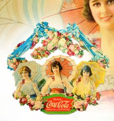 March 30th Auction. 1918 Coca-Cola Umbrella Girls Festoon. Nicely framed and presented under glass.  Light soiling and slight age toning with minor bends and edge wear and two closed tears at upper left on center piece and in left ribbon arm. Still displays beautifully. #CocaCola #Festoon #Advertising #MorphyAuctions
