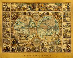 Old World Map... Love the side pictures!!!