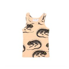 $50 A soft and playful summer tank in pastel pink featuring a whimsical detailed print of crawling lizards. Soft organic cotton fabric, comfortable racerback and true fit make this top a perfect sumer pick. #kidsfashion #minirodini