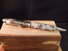 Filibella Twist Ballpoint Pen with White Pearly Pine Cone Acrylic by ProvincialMills on Etsy
