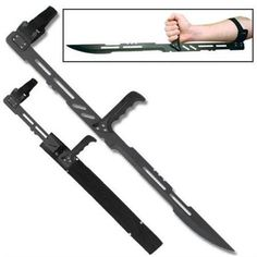 "Punisher Fantasy Sword by Swords Knives and Daggers. $22.38. The Punisher 27 1/4"" overall 15"" blade. Fantasy forearm sword with handle, forearm strap and nylon sheath."