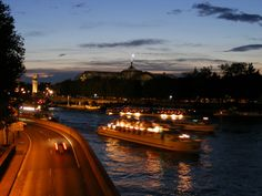 The Seine at night. Paris, France.