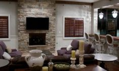 Awesome Dry Stacked Stone Fireplace Ideas - The Urban Interior Stacked Stone, Natural Stone Backsplash, Urban Interiors, Stacked Stone Fireplaces, Dry Stack Stone, House, Tile Design, Small Apartment Furniture, Fireplace