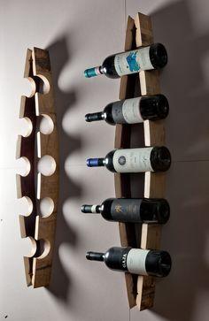"Bordeaux Bottle Racks, built with the staves of old disused barrels... :) Porta bottiglie ""Bordeaux"" da parete realizzato con doghe di botte dismesse... Artigianato Made in Italy senza paragoni! http://woodulike.it/product/house/bordeaux-bottle-racks-model-arch/"