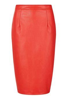 Collectif Naeemah PU Pin-Up Pencil Rok Rood skirt red