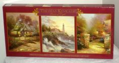 Thomas Kinkade 3622-2 Deluxe Jigsaw Puzzles 3 in 1 Set Three Pack 500 Piece Ceaco SEALED $14