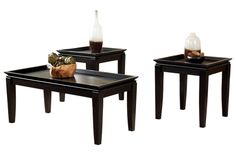 living room tables. i like the tray tabletops (great for beading and for not losing stuff) and the dark finish.