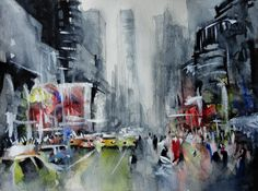New york painting - Contemporary painting - Watercolor and acrylic painting - Giclee print - New York art - Contemporary canvas New York Canvas, New York Art, New York Painting, Painting Prints, Art Prints, Original Paintings For Sale, Contemporary Paintings, Rustic Contemporary, Oeuvre D'art