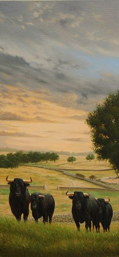"Here and free is where and how have to be bulls, not in a bull ring :-((((((( I feel shameful like Spanish... ///  ""Atardecer en el Campo"", Óleo Sobre Lienzo, Walter Zuluaga, Pintor Colombiano-"