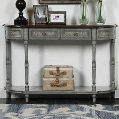 Marienville Markham Gray and Brown 2-Drawer Console Table