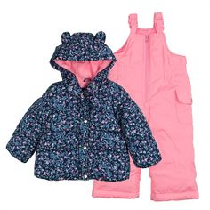 Baby Girl Carter's Heavyweight Jacket & Bib Snow Pants Set, Size: 24 Months, Pink Other