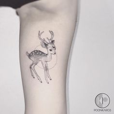 Fine line bambi tattoo by Karry Ka-Ying Poon. Fluffier wrap around tail? Fawn Tattoo, Baby Deer Tattoo, Bambi Tattoo, Doe Tattoo, Stag Tattoo, Upper Thigh Tattoos, Inner Arm Tattoos, Mini Tattoos, Small Tattoos