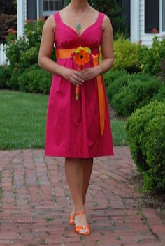 Bridesmaid Dresses in watermelon, fuschia, or hot pink! :  wedding bridesmaid bridesmaids dress fuschia watermelon Michelle
