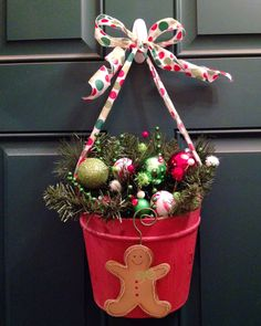 decorative christmas basket wreath for the front door