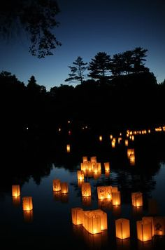 During the last day of the celebration of o-bon, a span of three days when spirits are thought to return to their ancestral homes, people float paper lanterns down a river to guide the spirits of the departed back to the other world.