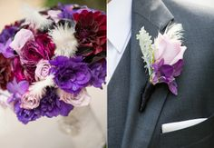 Purple Boutonniere | Purple Bouquet and Purple Boutonniere //photo: Studio EMP // Feature ... conceptually - white with purple