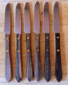 6 wood handled knives Burns MFG made in Syracuse NY USA by vakvar