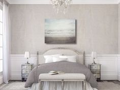 Canvas Beach Art, Neutral Beach Decor Canvas Wrap, Large Neutral Canvas, Ocean Art, Corpus Christi Texas, Padre Island Texas, Grey Canvas.