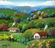 Campos Gerais 19 x 27 amazing naive art by Henry Vitor Landscape Quilts, Landscape Art, Landscape Paintings, Watercolor Paintings, Cottage Art, Naive Art, Art Google, Amazing Art, Folk Art