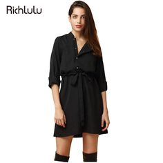 RichLuLu Black Sexy Women Fashion Mini Dress Solid Tie Front Half Sleeve Button Single Breasted Chic Dress Lace-up Casual Dress