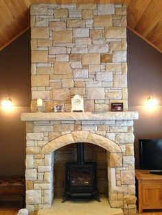 stone fireplace Stone Veneer, Stove, Cabin Life, House Design, Stanley Stove, Indoor Fireplace, Sandstone Fireplace, Indoor, Fireplace