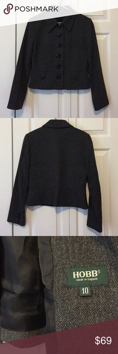 """Hobbs London Wool-blend Cropped Jacket Top-quality British label. Hard to find in US, Bloomindale's carries some of this line. Excellent condition, wore only a few times for job interviews. 6 button closure. Heather grey color, would look great with black slacks or pencil skirt. Size 10 is a size 2 or 4 in US. Top of collar to bottom: 21.5""""; armpit to armpit: 18""""; sleeve: 23"""". Hobbs Jackets & Coats Blazers"""