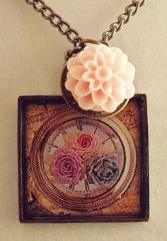 Pink Carnation and Flowers Resin Pendant by ShayBelleDesigns, $5.95