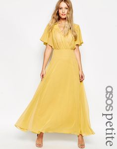 Image 1 of ASOS PETITE WEDDING 70's Flippy Maxi Dress with Stitch Shoulder