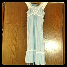 Vintage blue and white striped summer dress One of a kind dress. My mother wore this in the 60s. Will never see anyone else with this piece! Super cute for summer! Jody T Dresses Midi