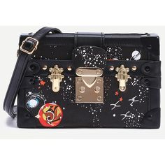 SheIn(sheinside) Black Space Print Vintage Box Bag ($25) ❤ liked on Polyvore featuring bags, handbags, shoulder bags, print purse, vintage shoulder bag, vintage purses, print handbags and vintage handbags