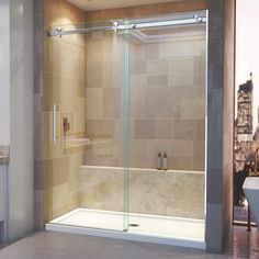 Frameless Sliding Shower Doors, Sliding Doors, Small Bathroom, Bathroom Ideas, Master Bathroom, Bathroom Layout, Bathroom Renovations, Bathroom Shower Remodel, Shower Ideas