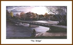 """""""The Bridge"""" print. A quiet late afternoon view of the historic old one lane bridge that once span the banks of the Yadkin River in Rockford, NC."""