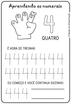 Exercises to Count on the Fingers – Drawings For C …- Exercícios para Contar … Preschool Number Worksheets, Pre K Worksheets, Preschool Writing, Numbers Preschool, Kindergarten Worksheets, Preschool Activities, Alphabet, Pre Writing, Toddler Learning