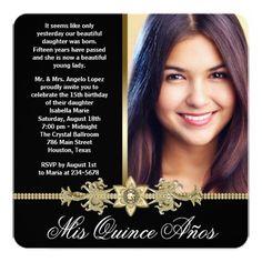 Diamond Gold Black and Gold Photo Quinceanera 5.25x5.25 Square Paper Invitation Card
