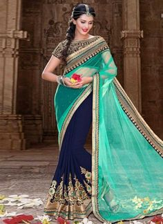 Dazzling Net Blue And Turquoise Heavy Embroidery Border Wedding Saree