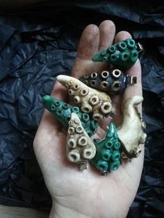 Medium Tentacle hair clips pair by HysteriaMachine on Etsy