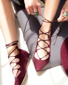 Playful pointy-toe gladiator flats crafted of supple suede with lace-up details. Adjustable wrap-around ankle strap. Padded footbed for all-day comfort. …