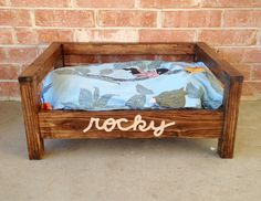 Custom Wooden, Elevated Dog Bed. Standard Pillow Sized. Also available in Queen and King Size.