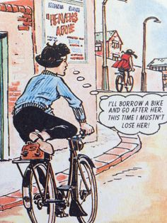 I mustn't lose her Bicycle Print, Classic Comics, Vintage Bicycles, Vintage Comics, Losing Her, Kitsch, Bike, Prints, Art
