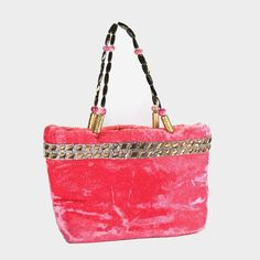 Beautiful Peach Baby Pink Velvet With Rich Stone Studded Lace Border Hand Bag !! #ArishaKreationCo #ShoulderBag