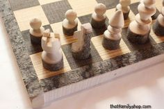 Custom Made Rustic Log Chess Set With Board