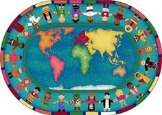 Hands around the World Classroom Rug, 5'4 x 7'8 Oval